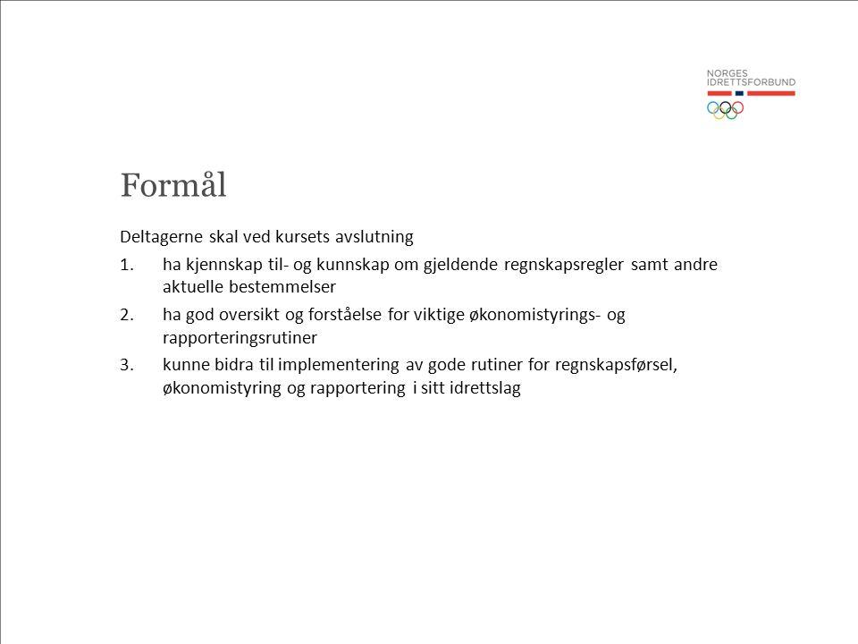 Agenda 1.Roller og ansvarsfordeling i et idrettslag 2.Hvilke regnskapsregler gjelder.