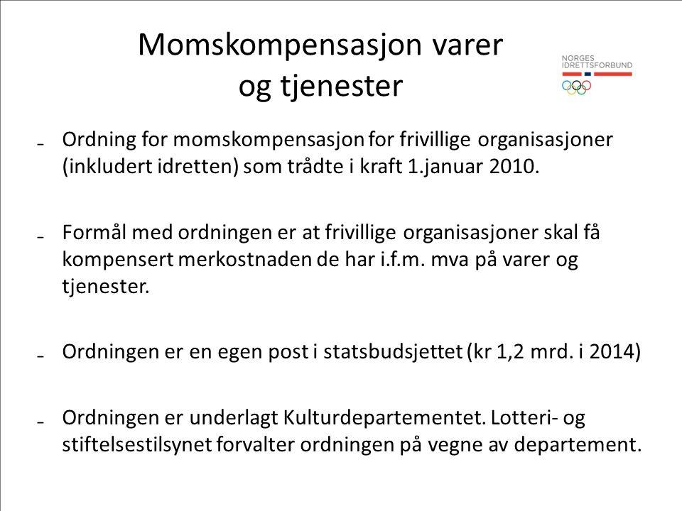 Momskompensasjon varer og tjenester ₋Ordning for momskompensasjon for frivillige organisasjoner (inkludert idretten) som trådte i kraft 1.januar 2010.