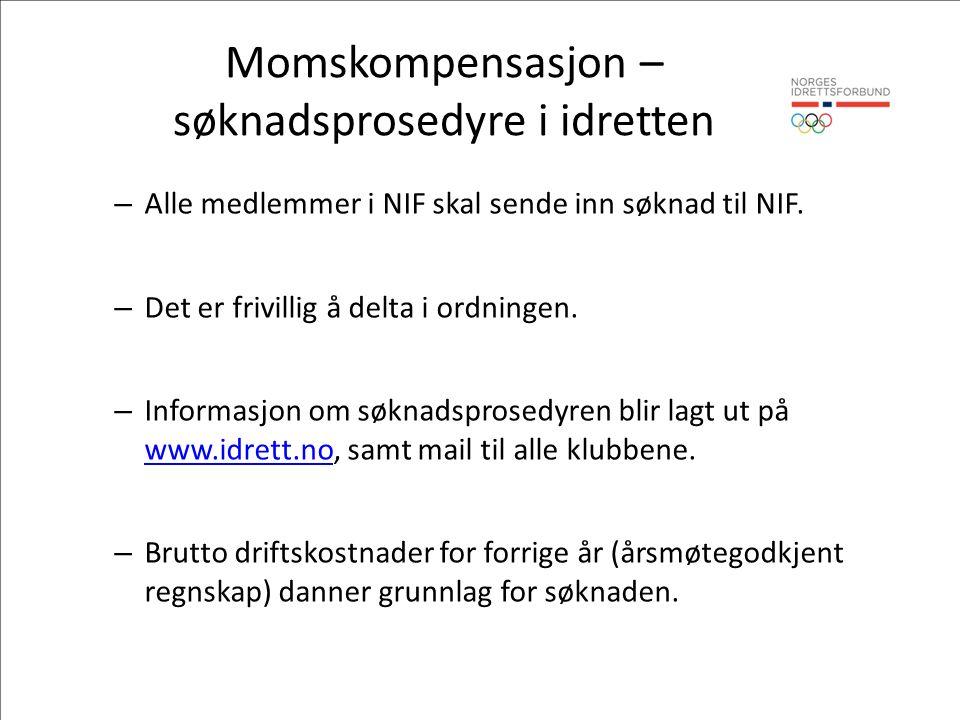 Momskompensasjon – søknadsprosedyre i idretten – Alle medlemmer i NIF skal sende inn søknad til NIF.