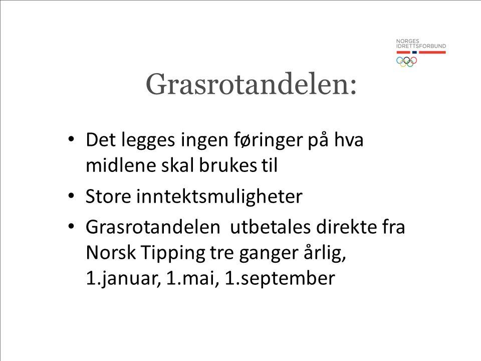 Grasrotandelen: Det legges ingen føringer på hva midlene skal brukes til Store inntektsmuligheter Grasrotandelen utbetales direkte fra Norsk Tipping tre ganger årlig, 1.januar, 1.mai, 1.september