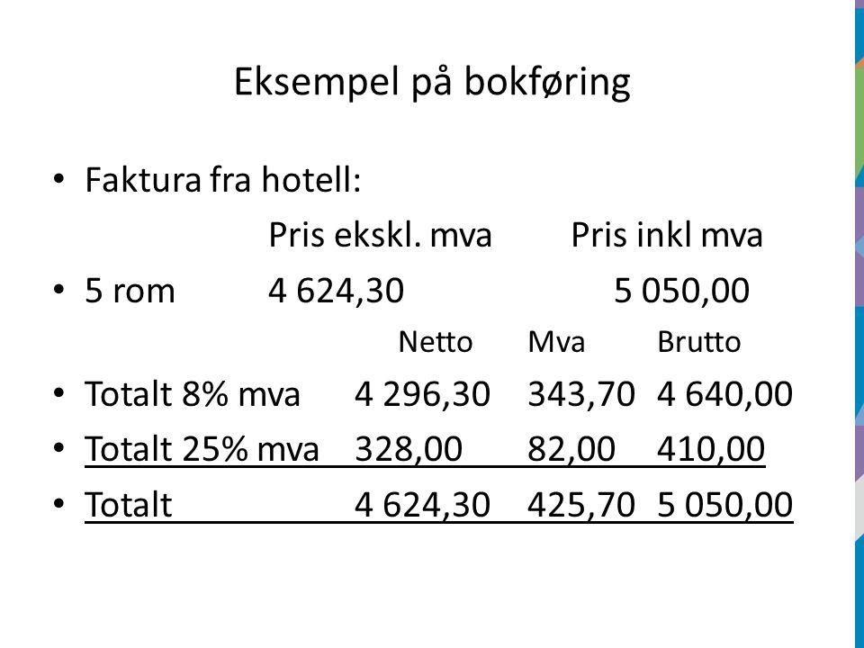 Eksempel på bokføring Faktura fra hotell: Pris ekskl.