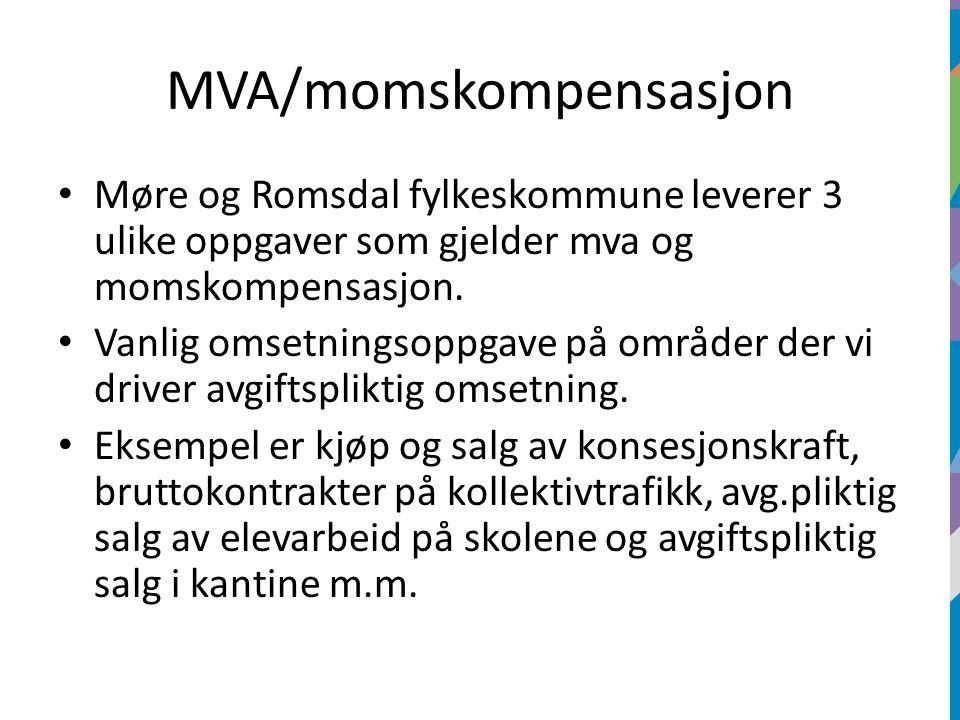 MVA/momskompensasjon Møre og Romsdal fylkeskommune leverer 3 ulike oppgaver som gjelder mva og momskompensasjon.