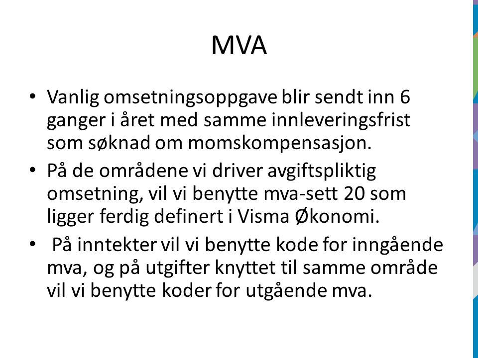 MVA Vanlig omsetningsoppgave blir sendt inn 6 ganger i året med samme innleveringsfrist som søknad om momskompensasjon.