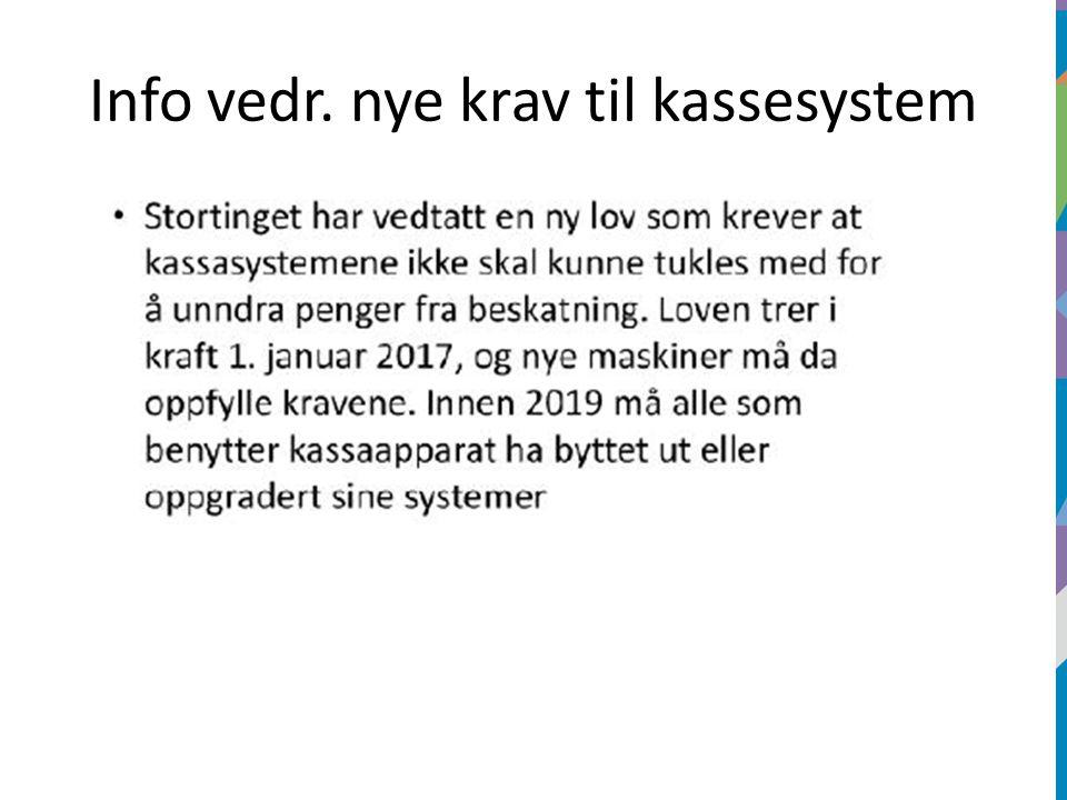 Info vedr. nye krav til kassesystem
