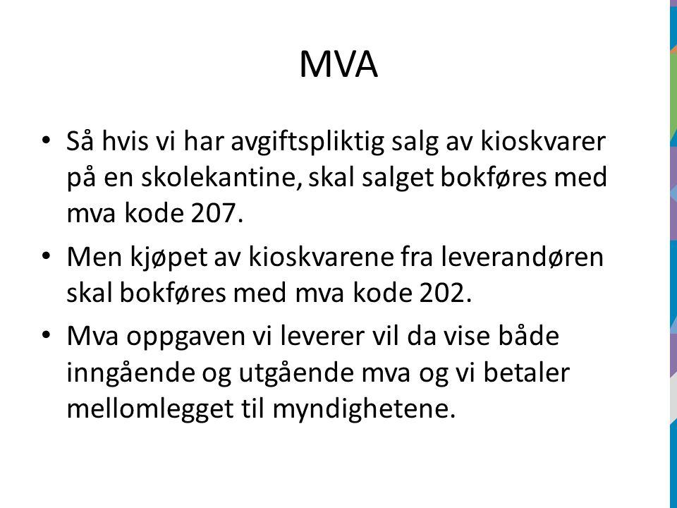 MVA Så hvis vi har avgiftspliktig salg av kioskvarer på en skolekantine, skal salget bokføres med mva kode 207.