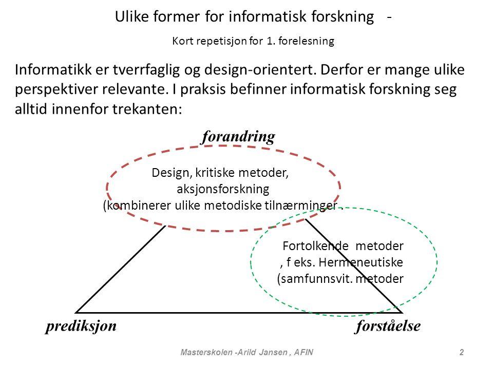 Masterskolen -Arild Jansen, AFIN 2 Ulike former for informatisk forskning - Kort repetisjon for 1.