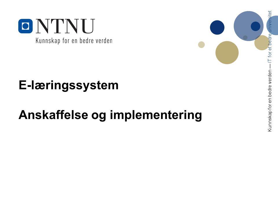 22 Eksempler på oppgaver som må ivaretas under innføring, og anbefalt organisering Det etableres en sentral programorganisasjon som får det overordnet ansvar for å rulle ut og videre vedlikeholde den nye e-læringssystem på tvers av NTNU.
