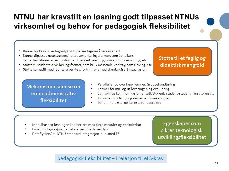 11 NTNU har kravstilt en løsning godt tilpasset NTNUs virksomhet og behov for pedagogisk fleksibilitet Støtte til et faglig og didaktisk mangfold Mekanismer som sikrer emneadministrativ fleksibilitet Egenskaper som sikrer teknologisk utviklingsfleksibilitet Kunne brukes i ulike fagmiljø og tilpasses fagområders egenart Kunne tilpasses nettstøttede/nettbaserte læringsformer, som åpne kurs, samarbeidsbaserte læringsformer, Blended Learning, omvendt undervisning, etc Støtte til studentaktive læringsformer, som bruk av sosiale verktøy, samskriving, etc Støtte samspill med fagnære verktøy, fortrinnsvis med standardisert integrasjon Paralleller og overlapp i emner.