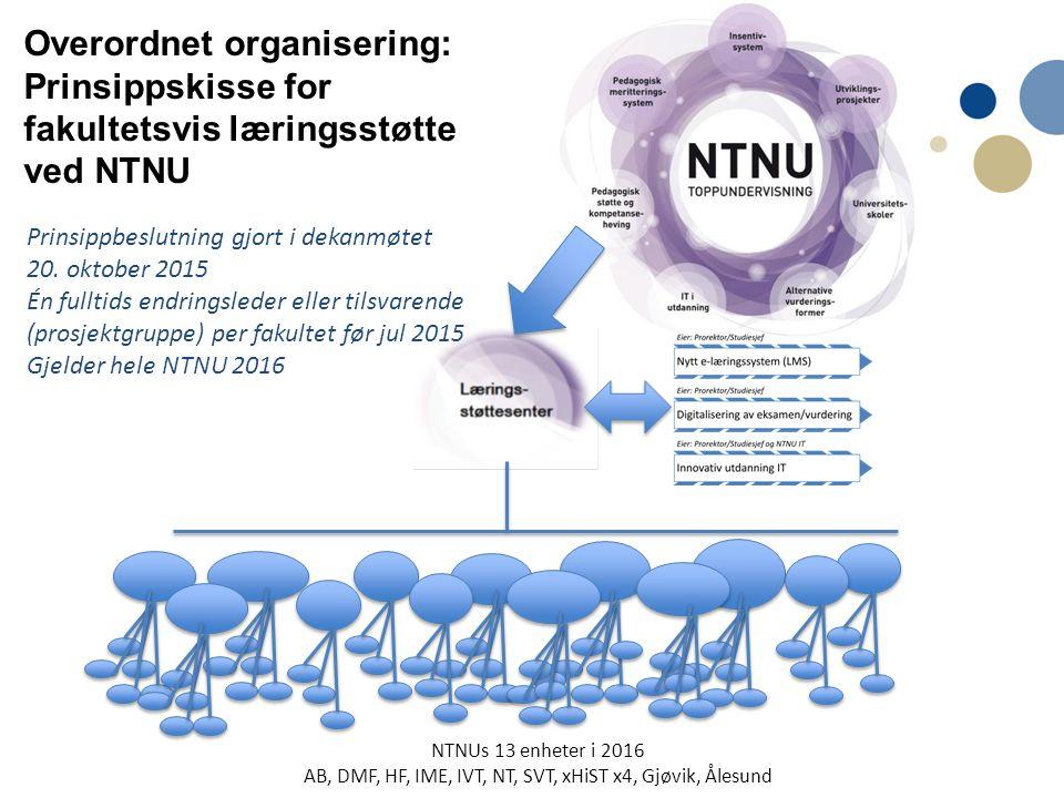 Overordnet organisering: Prinsippskisse for fakultetsvis læringsstøtte ved NTNU Prinsippbeslutning gjort i dekanmøtet 20.