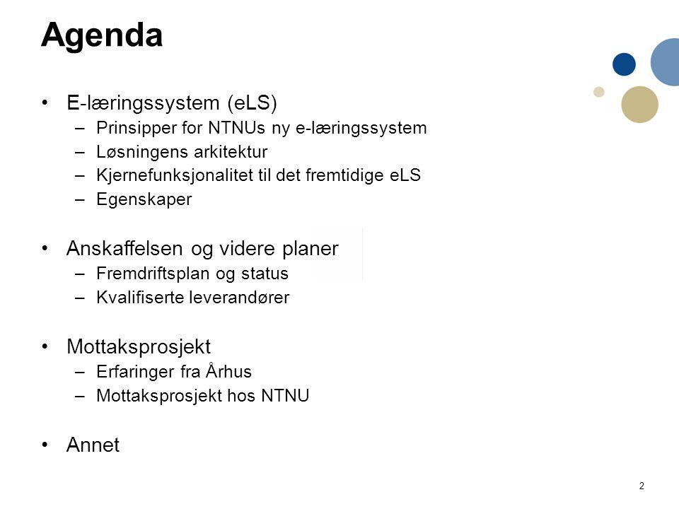 3 Utklipp fra anskaffelsesanbefaling Bestillingen fra prorektor Berit Kjeldstad i august 2014 NTNUs nye e-læringssystem (eLS): Et e-læringssystem gir muligheten til å lære når som helst, og hvor som helst.