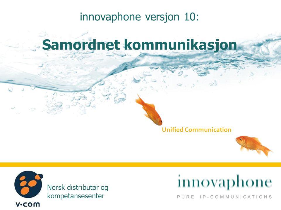 Norsk distributør og kompetansesenter innovaphone versjon 10: Samordnet kommunikasjon Unified Communication
