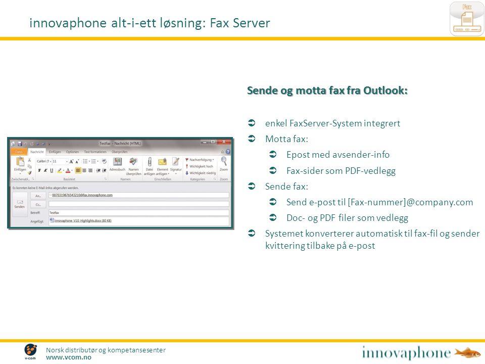 Norsk distributør og kompetansesenter www.vcom.no Sende og motta fax fra Outlook:  enkel FaxServer-System integrert  Motta fax:  Epost med avsender