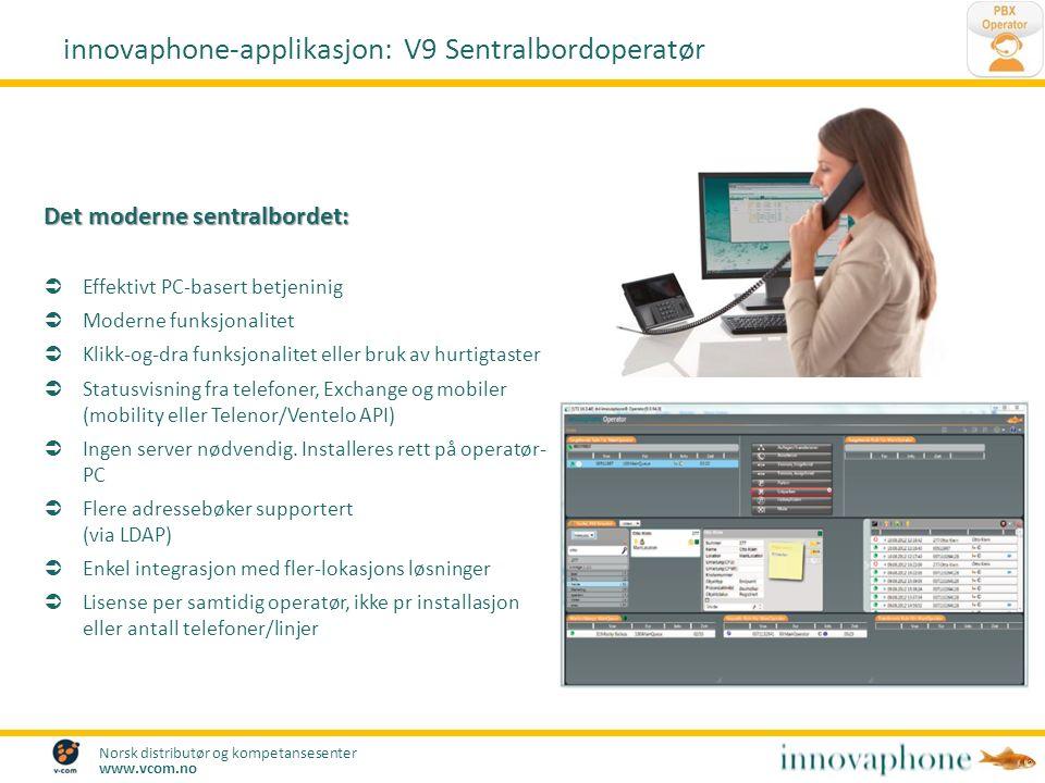 Norsk distributør og kompetansesenter www.vcom.no Det moderne sentralbordet:  Effektivt PC-basert betjeninig  Moderne funksjonalitet  Klikk-og-dra
