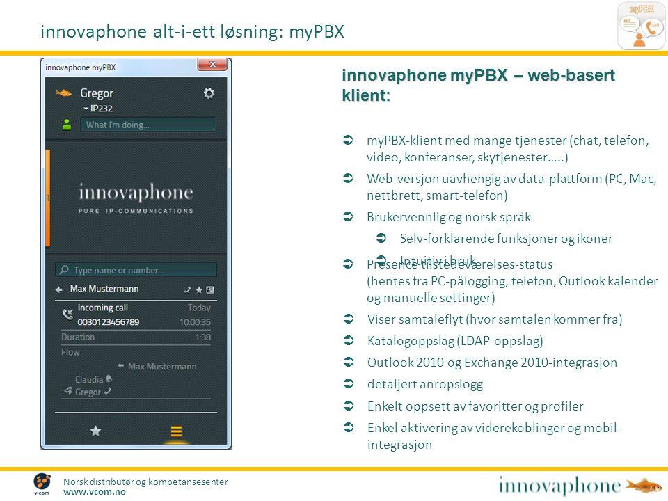 Norsk distributør og kompetansesenter www.vcom.no innovaphone myPBX – web-basert klient:  myPBX-klient med mange tjenester (chat, telefon, video, konferanser, skytjenester…..)  Web-versjon uavhengig av data-plattform (PC, Mac, nettbrett, smart-telefon)  Brukervennlig og norsk språk  Selv-forklarende funksjoner og ikoner  Intuitiv i bruk innovaphone alt-i-ett løsning: myPBX  Viser samtaleflyt (hvor samtalen kommer fra)  Katalogoppslag (LDAP-oppslag)  Outlook 2010 og Exchange 2010-integrasjon  detaljert anropslogg  Enkelt oppsett av favoritter og profiler  Enkel aktivering av viderekoblinger og mobil- integrasjon  Presence tilstedeværelses-status (hentes fra PC-pålogging, telefon, Outlook kalender og manuelle settinger)
