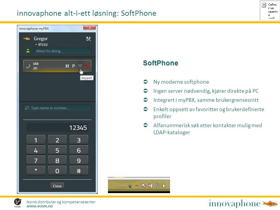 Norsk distributør og kompetansesenter www.vcom.no SoftPhone  Ny moderne softphone  Ingen server nødvendig, kjører direkte på PC  Integrert i myPBX,