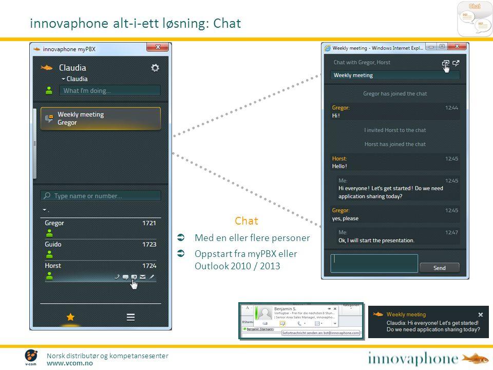 Norsk distributør og kompetansesenter www.vcom.no Chat  Med en eller flere personer  Oppstart fra myPBX eller Outlook 2010 / 2013 innovaphone alt-i-ett løsning: Chat