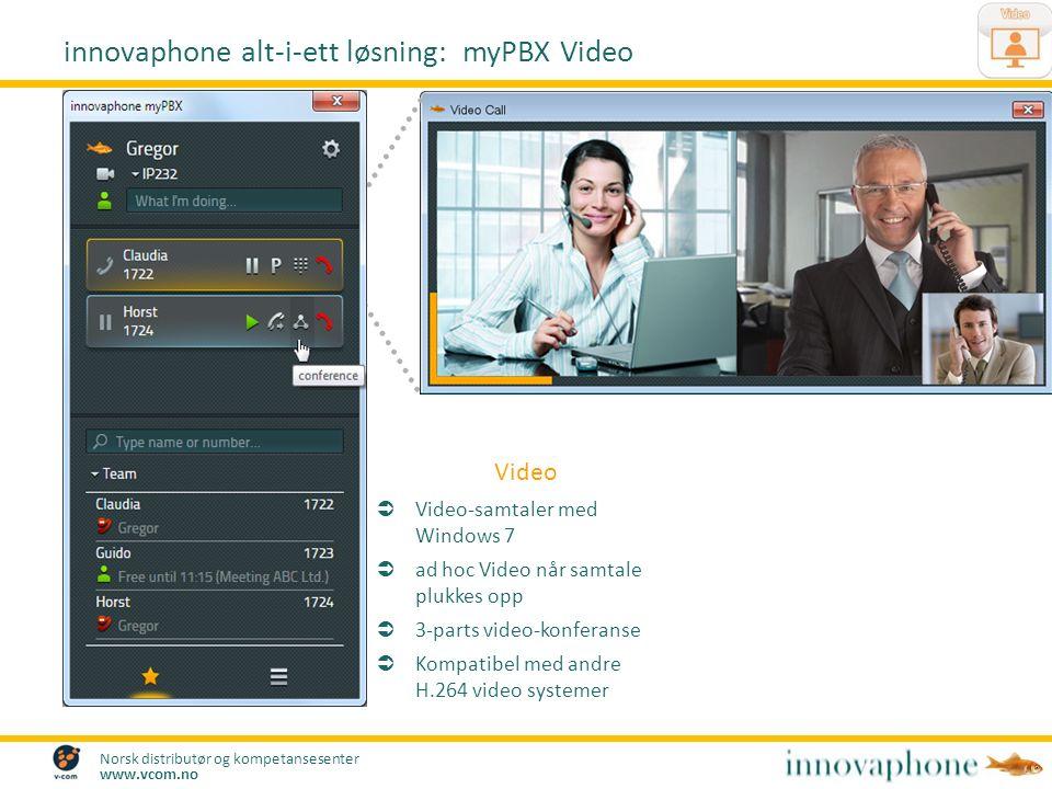 Norsk distributør og kompetansesenter www.vcom.no Video  Video-samtaler med Windows 7  ad hoc Video når samtale plukkes opp  3-parts video-konferanse  Kompatibel med andre H.264 video systemer innovaphone alt-i-ett løsning: myPBX Video