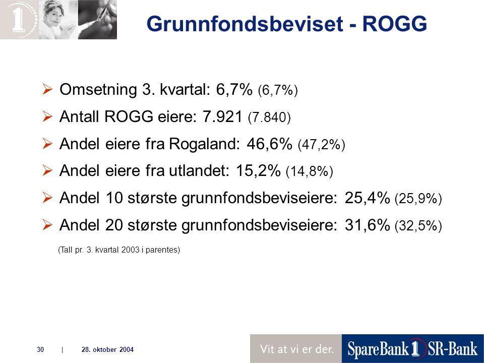 | 28. oktober 200430 Grunnfondsbeviset - ROGG  Omsetning 3.