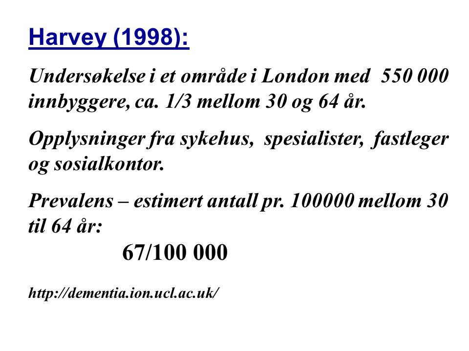 Harvey (1998): Undersøkelse i et område i London med 550 000 innbyggere, ca.