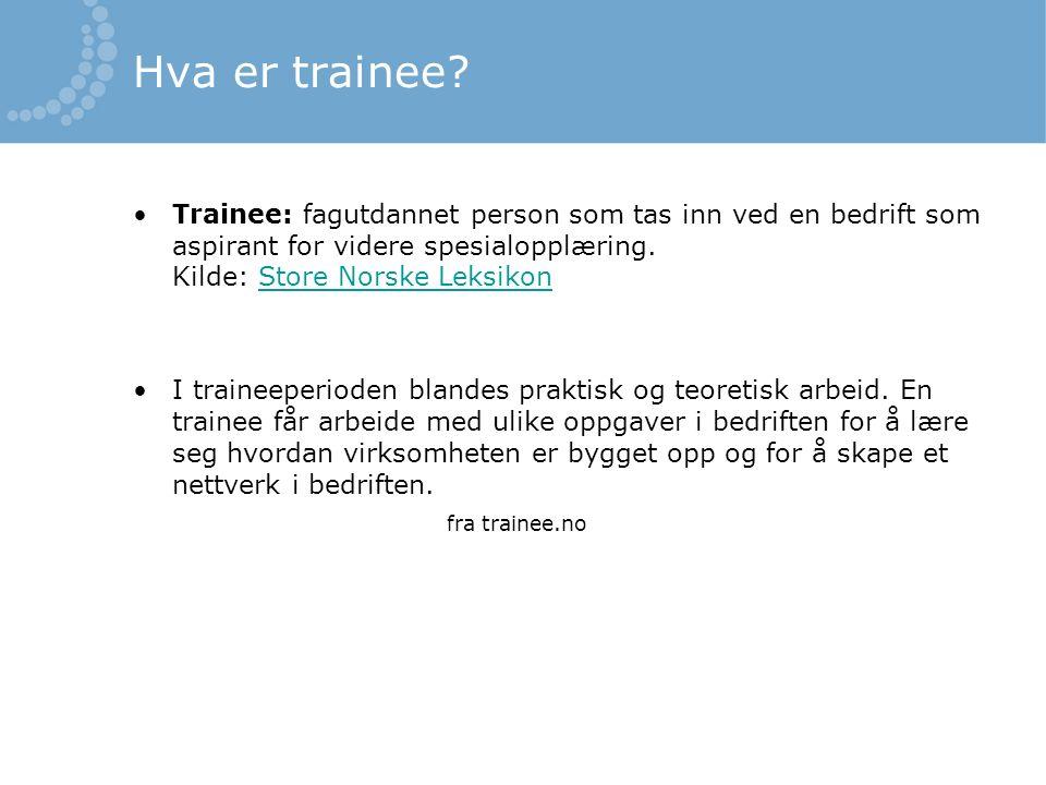 Hva er trainee.
