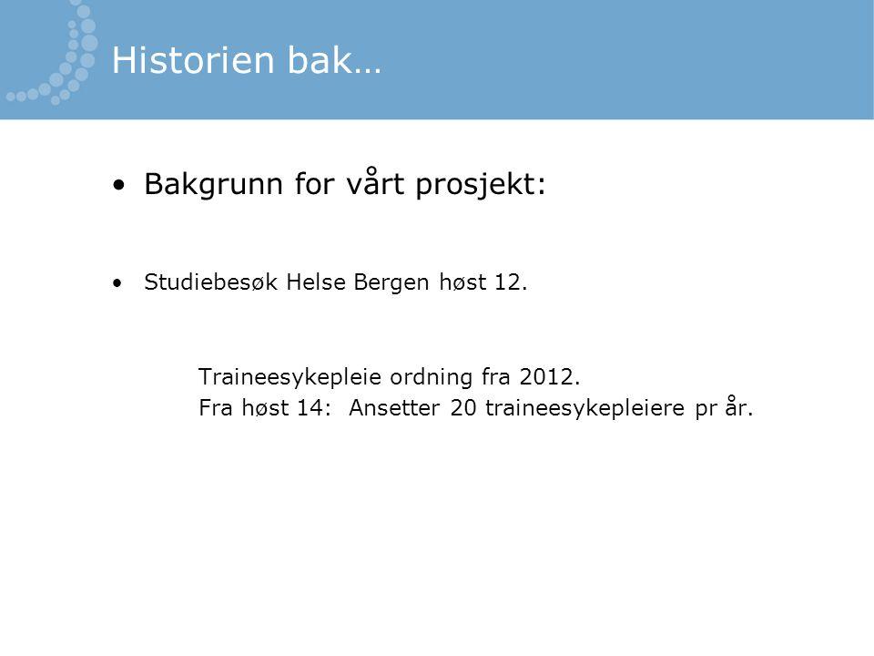 Historien bak… Bakgrunn for vårt prosjekt: Studiebesøk Helse Bergen høst 12.