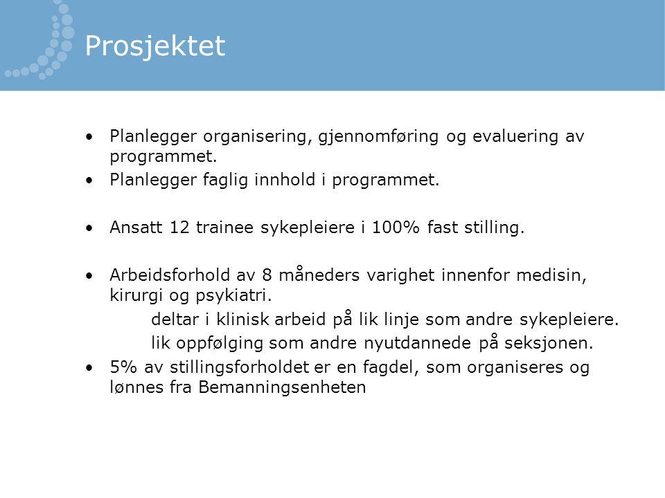 Prosjektet Planlegger organisering, gjennomføring og evaluering av programmet.