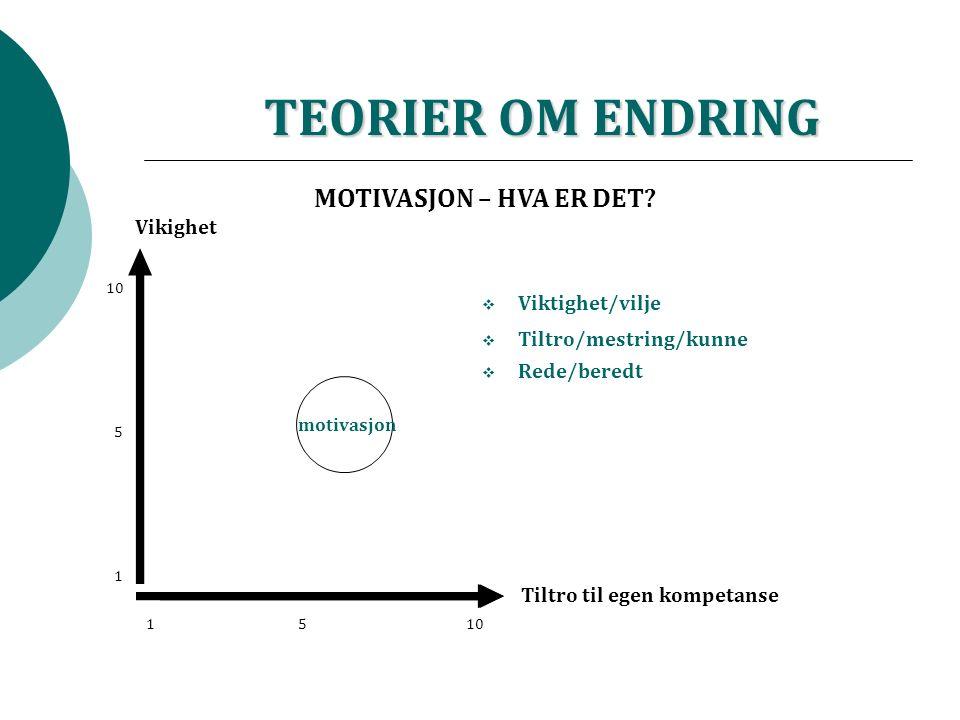 TEORIER OM ENDRING Tiltro til egen kompetanse Vikighet 15 10 1 5 motivasjon  Viktighet/vilje  Tiltro/mestring/kunne  Rede/beredt MOTIVASJON – HVA ER DET?