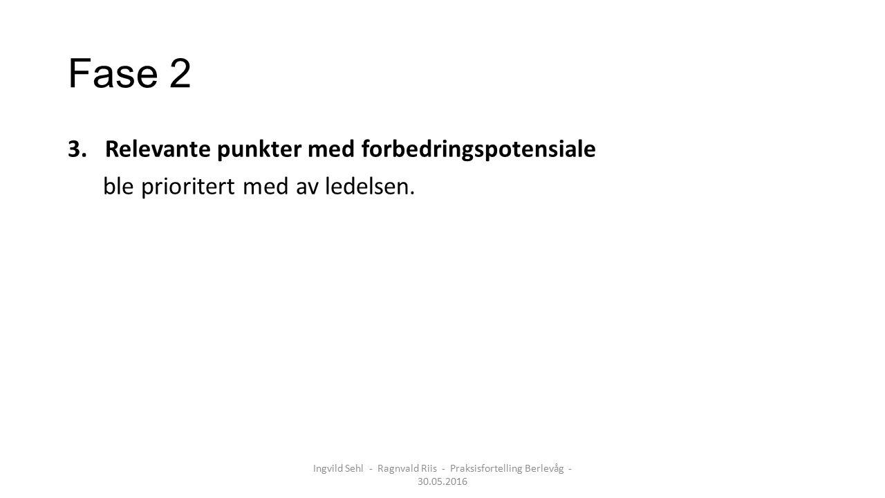 Fase 2 3.Relevante punkter med forbedringspotensiale ble prioritert med av ledelsen. Ingvild Sehl - Ragnvald Riis - Praksisfortelling Berlevåg - 30.05