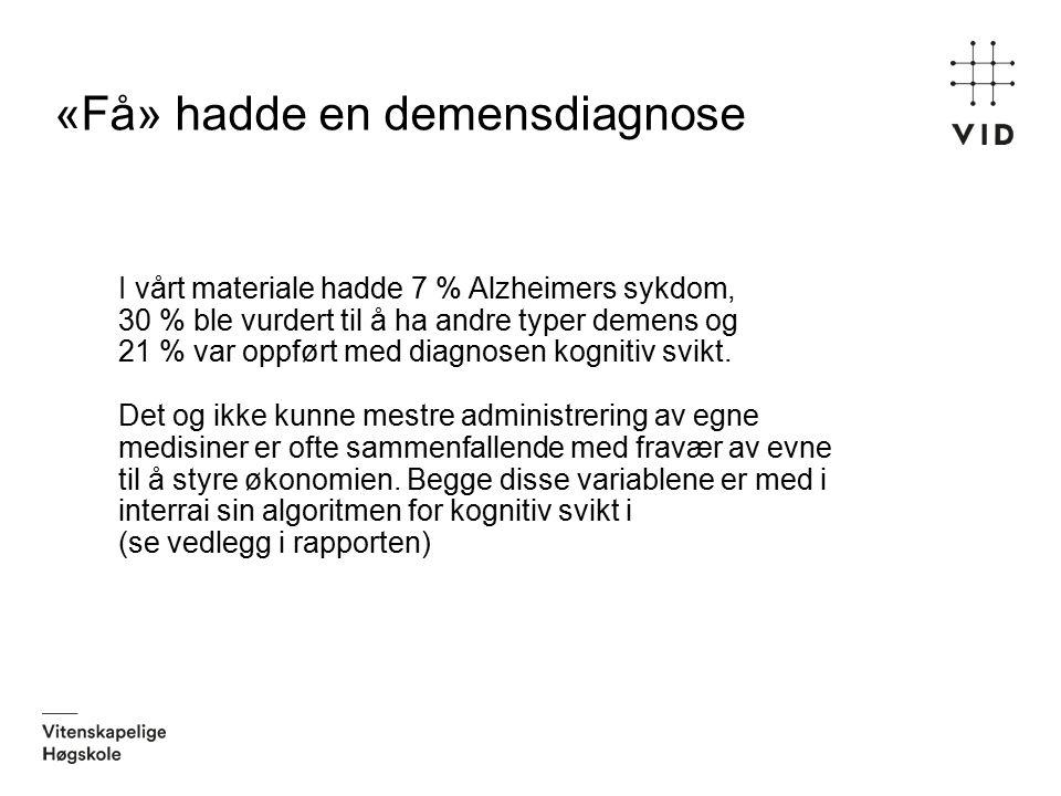 «Få» hadde en demensdiagnose I vårt materiale hadde 7 % Alzheimers sykdom, 30 % ble vurdert til å ha andre typer demens og 21 % var oppført med diagno