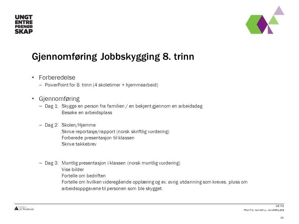 ue.no Gjennomføring Jobbskygging 8. trinn Forberedelse – PowerPoint for 8.