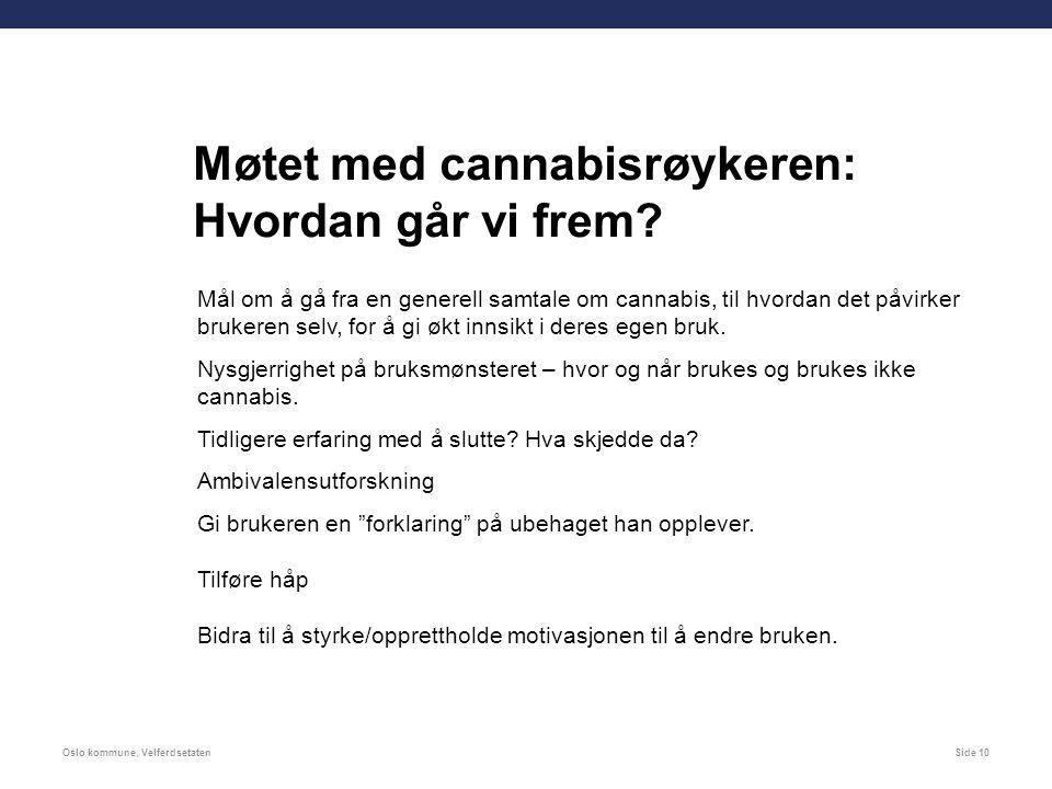 Oslo kommune, VelferdsetatenSide 10 Møtet med cannabisrøykeren: Hvordan går vi frem.