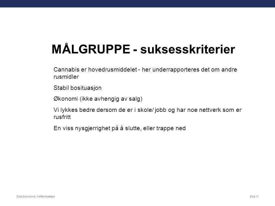 Oslo kommune, VelferdsetatenSide 11 MÅLGRUPPE - suksesskriterier Cannabis er hovedrusmiddelet - her underrapporteres det om andre rusmidler Stabil bosituasjon Økonomi (ikke avhengig av salg) Vi lykkes bedre dersom de er i skole/ jobb og har noe nettverk som er rusfritt En viss nysgjerrighet på å slutte, eller trappe ned