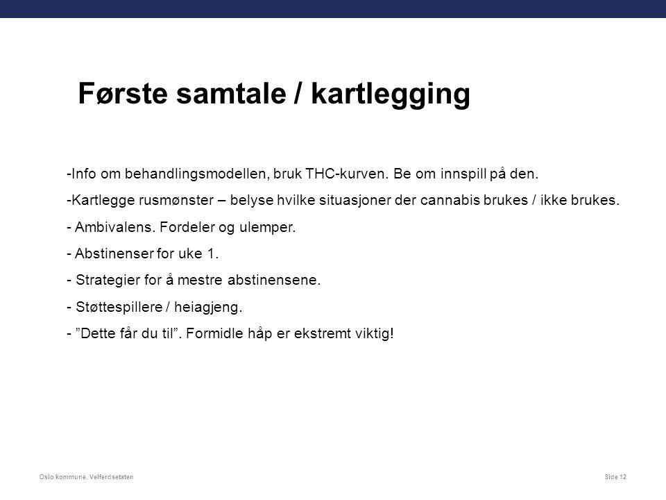 Oslo kommune, VelferdsetatenSide 12 Første samtale / kartlegging -Info om behandlingsmodellen, bruk THC-kurven.