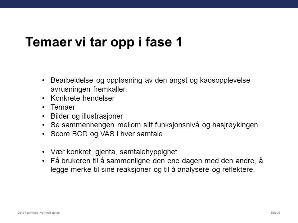 Oslo kommune, VelferdsetatenSide 23 Bearbeidelse og oppløsning av den angst og kaosopplevelse avrusningen fremkaller.