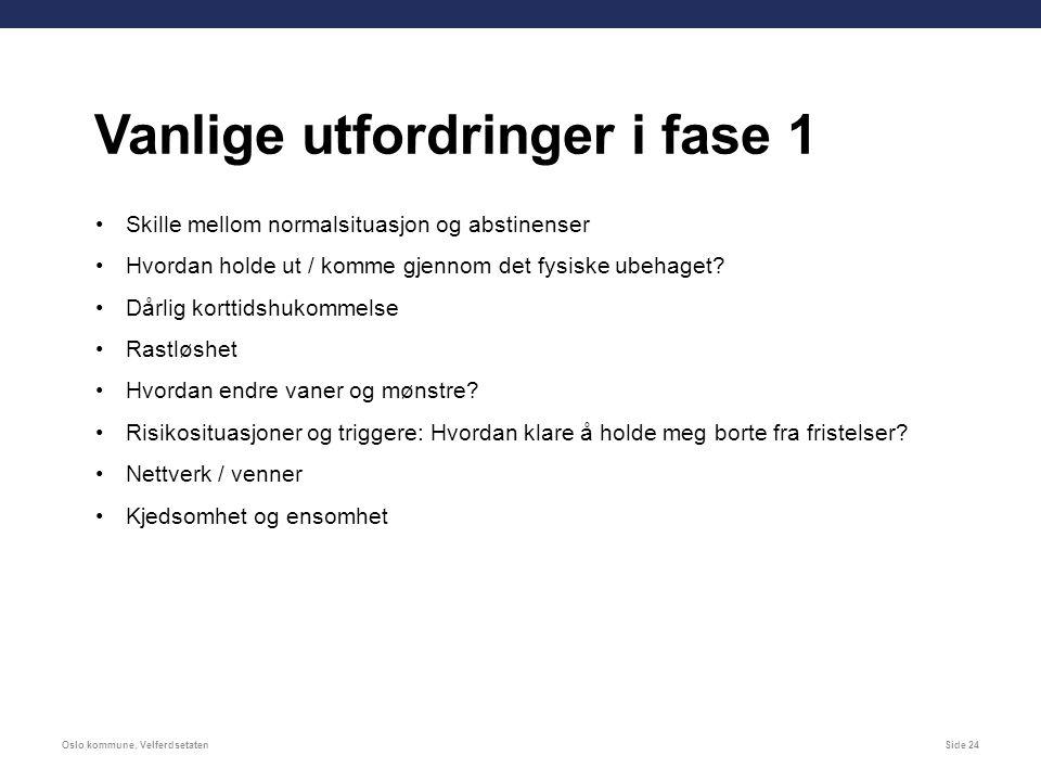 Oslo kommune, VelferdsetatenSide 24 Skille mellom normalsituasjon og abstinenser Hvordan holde ut / komme gjennom det fysiske ubehaget.