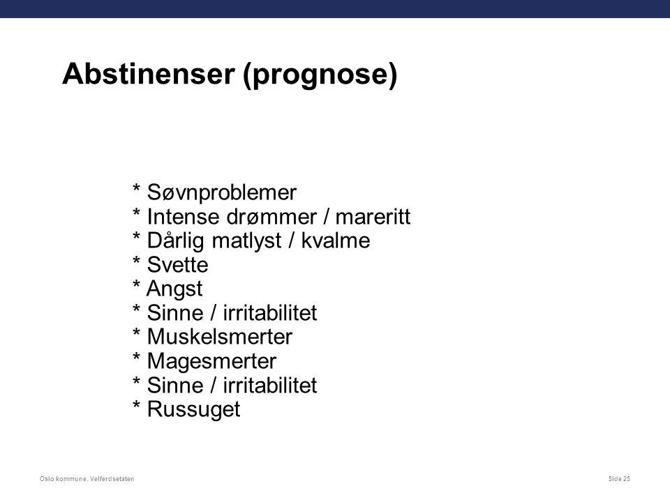 Oslo kommune, VelferdsetatenSide 25 * Søvnproblemer * Intense drømmer / mareritt * Dårlig matlyst / kvalme * Svette * Angst * Sinne / irritabilitet * Muskelsmerter * Magesmerter * Sinne / irritabilitet * Russuget Abstinenser (prognose)
