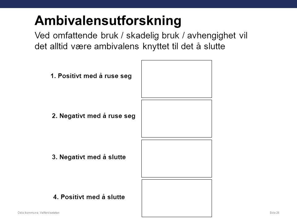 Oslo kommune, VelferdsetatenSide 26 Ambivalensutforskning Ved omfattende bruk / skadelig bruk / avhengighet vil det alltid være ambivalens knyttet til det å slutte 1.
