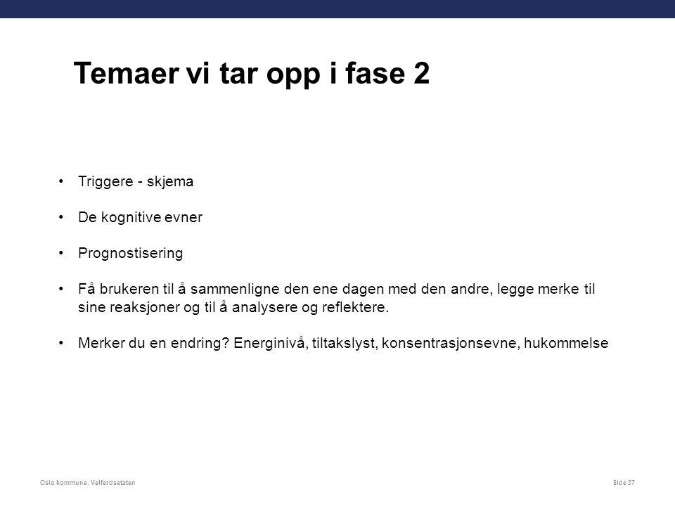 Oslo kommune, VelferdsetatenSide 37 Triggere - skjema De kognitive evner Prognostisering Få brukeren til å sammenligne den ene dagen med den andre, legge merke til sine reaksjoner og til å analysere og reflektere.
