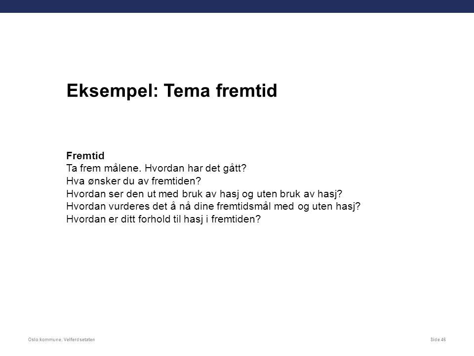 Oslo kommune, VelferdsetatenSide 46 Eksempel: Tema fremtid Fremtid Ta frem målene.