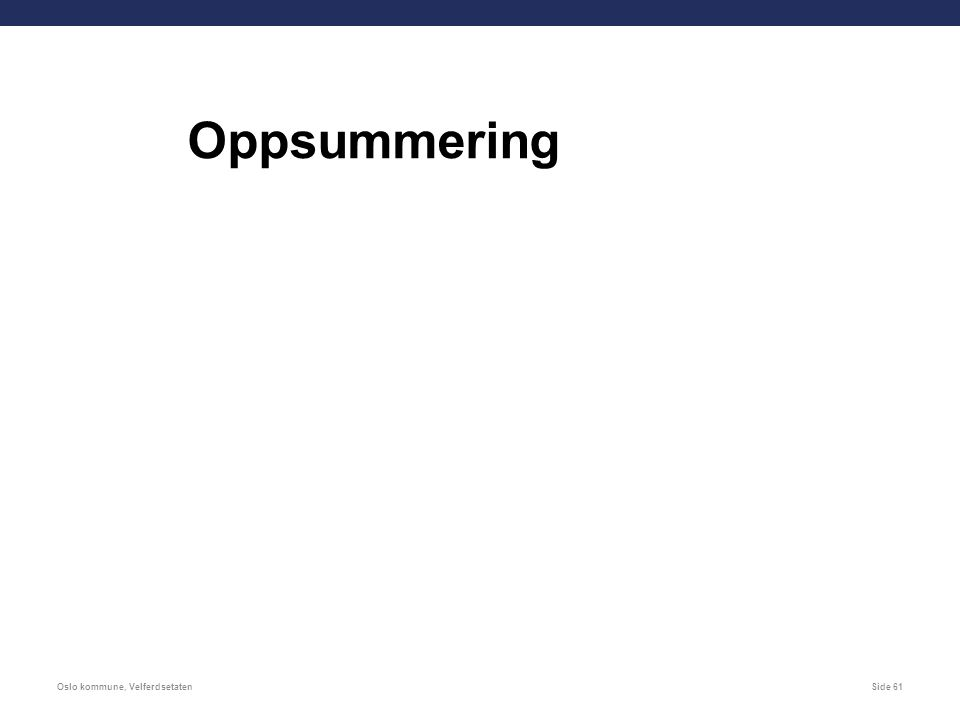 Oslo kommune, VelferdsetatenSide 61 Oppsummering