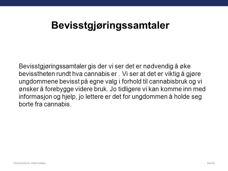 Oslo kommune, VelferdsetatenSide 64 Bevisstgjøringssamtaler Bevisstgjøringssamtaler gis der vi ser det er nødvendig å øke bevisstheten rundt hva cannabis er.