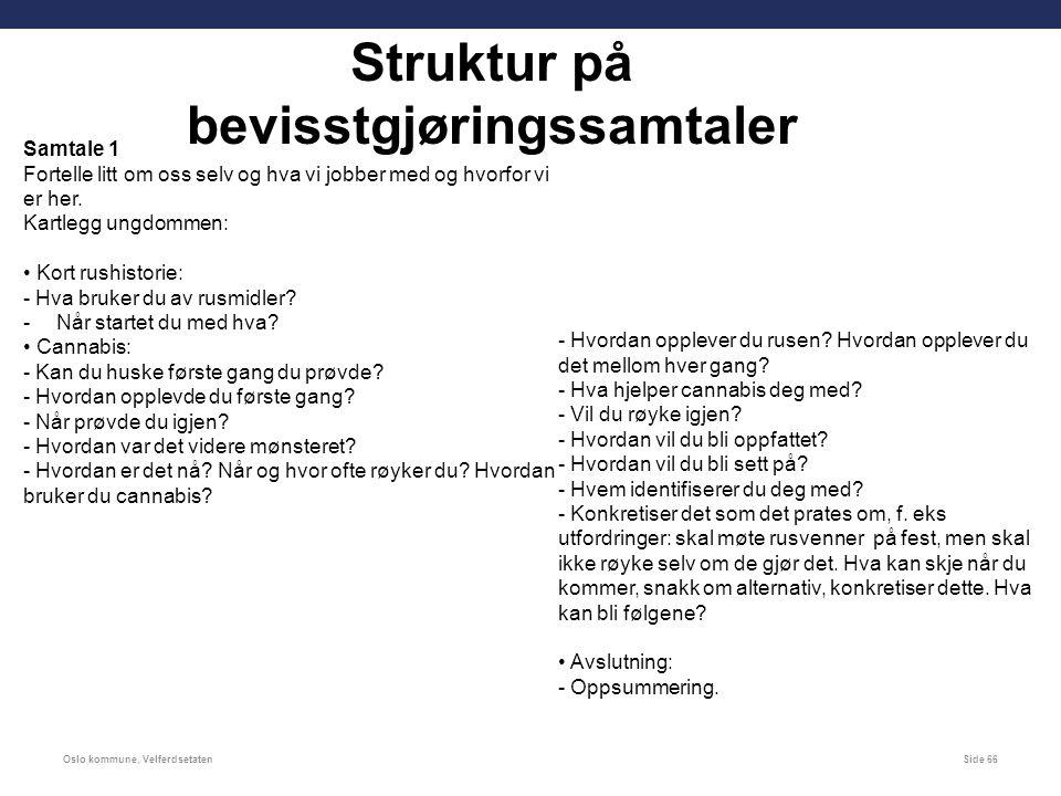 Oslo kommune, VelferdsetatenSide 66 Struktur på bevisstgjøringssamtaler Samtale 1 Fortelle litt om oss selv og hva vi jobber med og hvorfor vi er her.