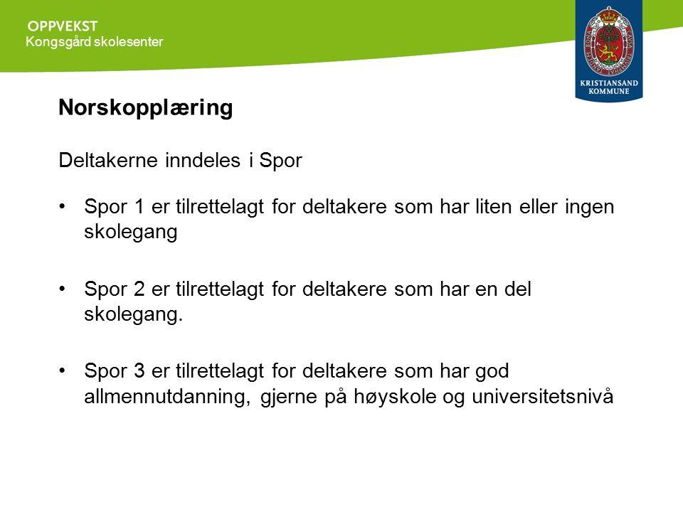 Kongsgård skolesenter Norskopplæring Deltakerne inndeles i Spor Spor 1 er tilrettelagt for deltakere som har liten eller ingen skolegang Spor 2 er tilrettelagt for deltakere som har en del skolegang.