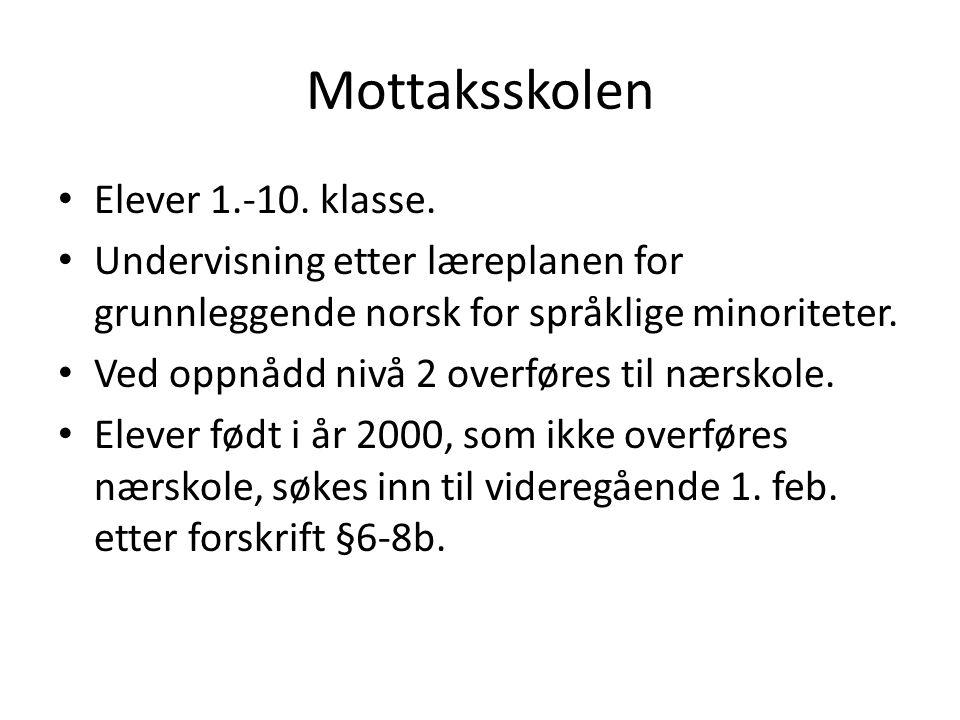 Mottaksskolen Elever 1.-10. klasse. Undervisning etter læreplanen for grunnleggende norsk for språklige minoriteter. Ved oppnådd nivå 2 overføres til
