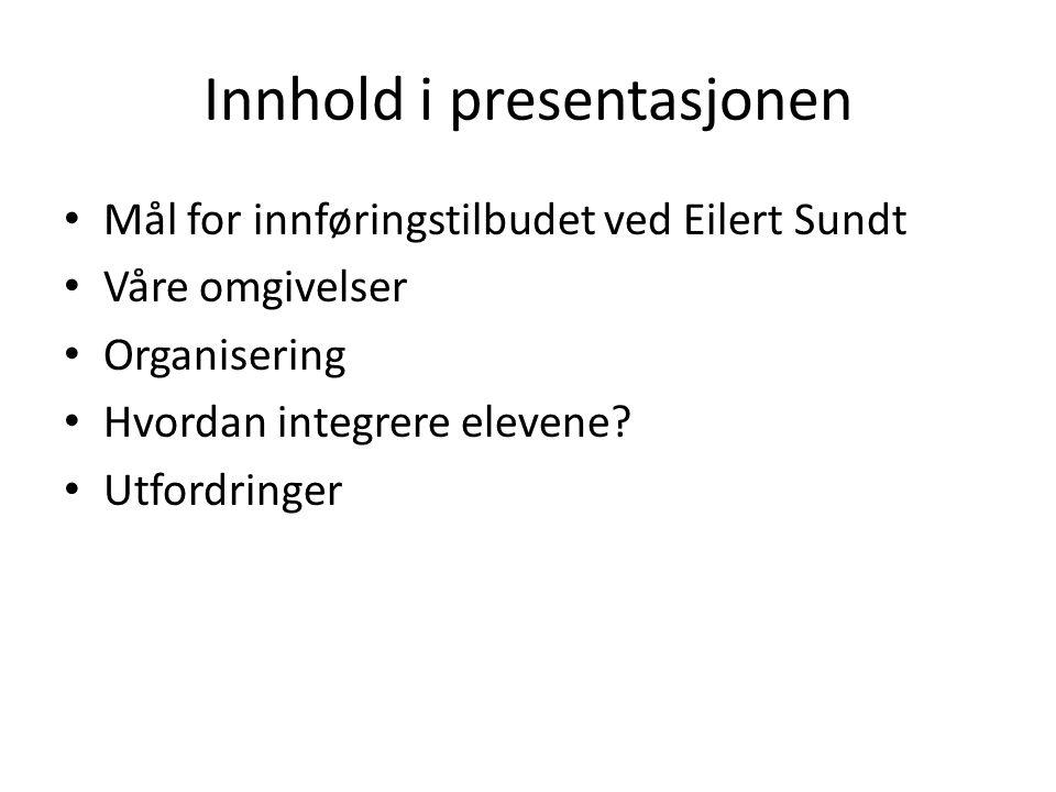 Innhold i presentasjonen Mål for innføringstilbudet ved Eilert Sundt Våre omgivelser Organisering Hvordan integrere elevene? Utfordringer