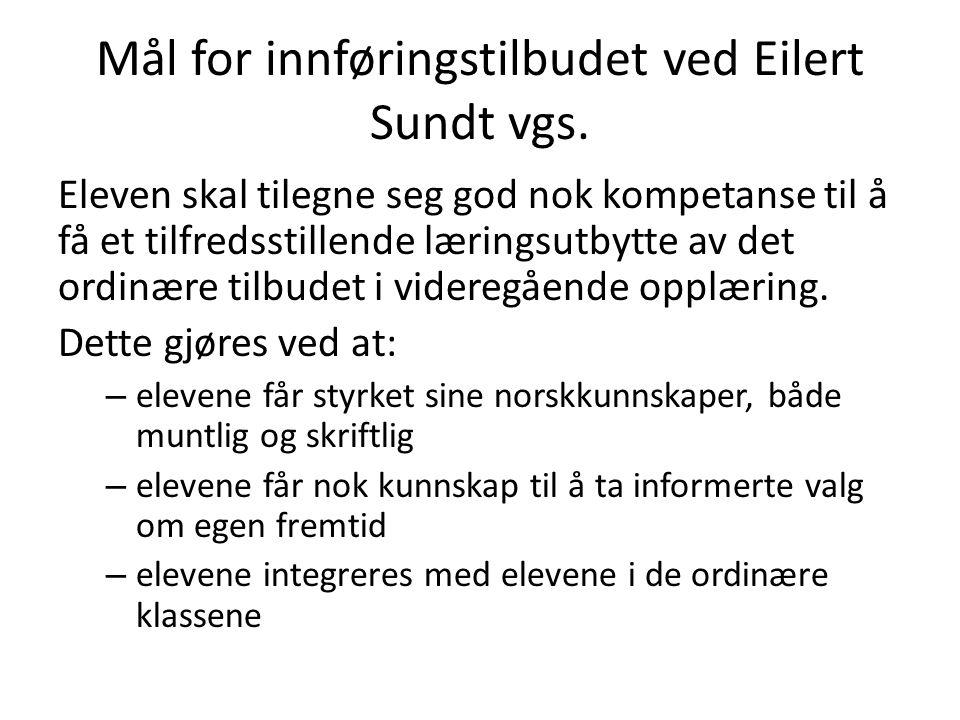 Mål for innføringstilbudet ved Eilert Sundt vgs. Eleven skal tilegne seg god nok kompetanse til å få et tilfredsstillende læringsutbytte av det ordinæ