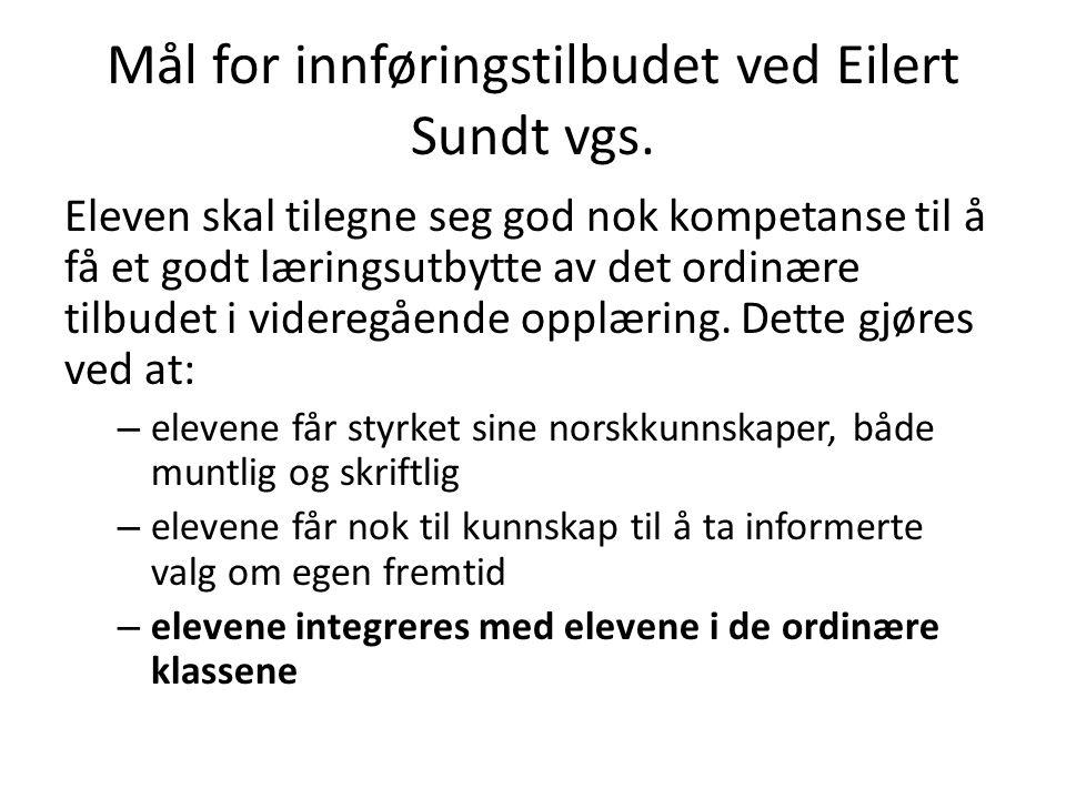 Mål for innføringstilbudet ved Eilert Sundt vgs. Eleven skal tilegne seg god nok kompetanse til å få et godt læringsutbytte av det ordinære tilbudet i