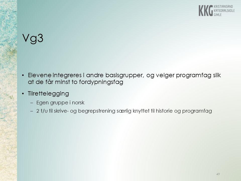 Vg3 49 Elevene integreres i andre basisgrupper, og velger programfag slik at de får minst to fordypningsfag Tilrettelegging –Egen gruppe i norsk –2 t/u til skrive- og begrepstrening særlig knyttet til historie og programfag