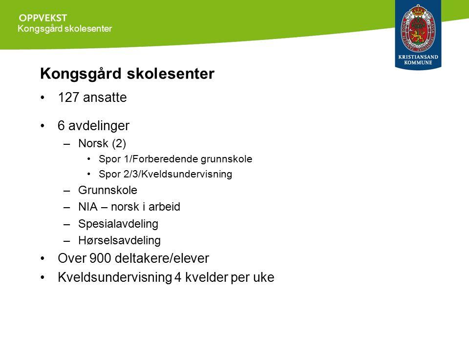 Kongsgård skolesenter 127 ansatte 6 avdelinger –Norsk (2) Spor 1/Forberedende grunnskole Spor 2/3/Kveldsundervisning –Grunnskole –NIA – norsk i arbeid