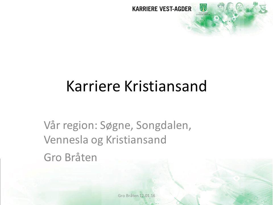 Karriere Kristiansand Vår region: Søgne, Songdalen, Vennesla og Kristiansand Gro Bråten Gro Bråten 12.01.16